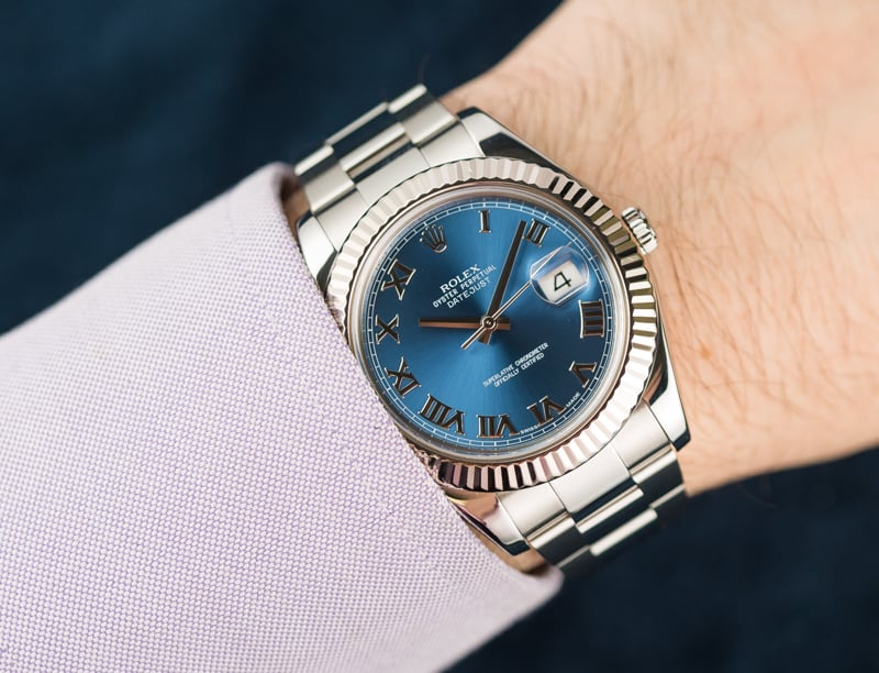 41mm Rolex Datejust with Blue Dial
