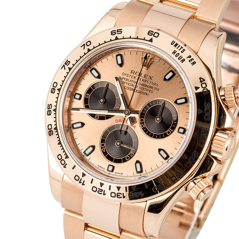 Full pink gold Rolex Daytona ref. 116505 with pink dial and black subdials