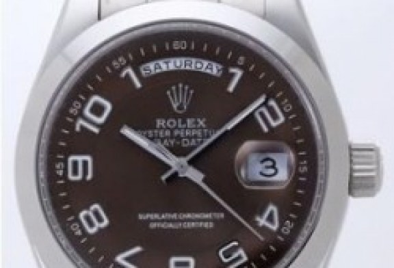 Replia rolex day date ii white gold brown dial watch