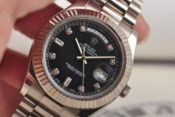 The Classic replica rolex day date black dial diamond markers watch
