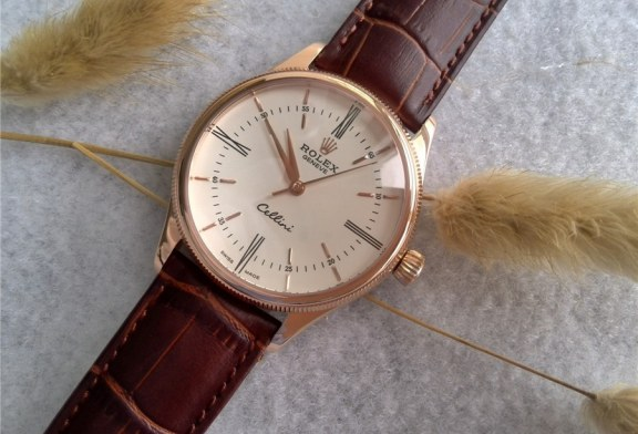 White Dial Rose Gold Rolex Cellini Time Watch Replica For Sale