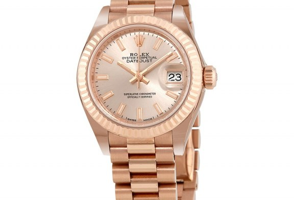 Perfect Clone Online Shopping Rolex Lady-Datejust 28 Sundust Dial 18K Everose Gold President Automatic Ladies Watch