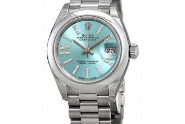 Swiss Movement Replica Watches Rolex Lady-Datejust Ice Blue Diamond Dial Ladies Platinum President Watch