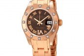 Eta Movement Replica Watches Rolex Lady-Datejust Pearlmaster Chocolate Brown Dial 18K Everose Gold Automatic Ladies Watch