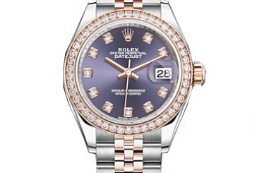 Replica Suppliers Rolex Lady Datejust Purple Diamond Dial Ladies Steel and 18kt Everose Gold Jubile Watch