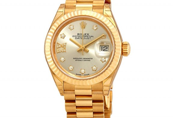 Replica Expensive Rolex Lady-Datejust Silver Diamond Dial Ladies 18kt Yellow Gold President Watch